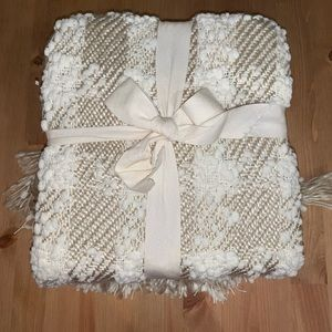 Pier 1 Ivory Knit Checkered Throw Blanket